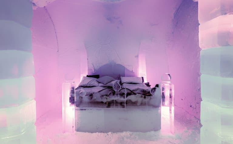 Nuit dans un hôtel de glace