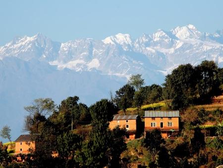 Lever de soleil à Dhulikhel et rizières de Panauti