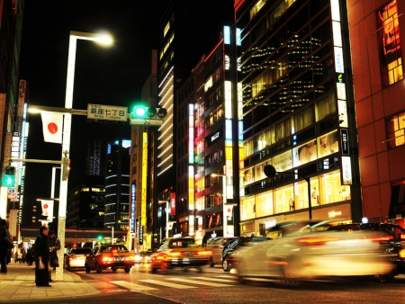 Admire the colourful neon lights in the Ginza district in Tokyo